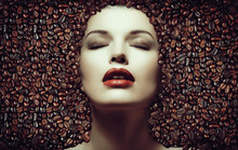 Coffee Beans. Girl In The Coff...