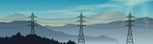 Transmission Power Lines On A Beautiful Landscape Background