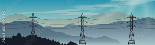 Foto Transmission power lines on a beautiful landscape background
