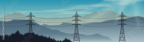Fotografía  Transmission power lines on a beautiful landscape background