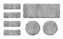 Set Of Realistic Stone Buttons And Panels, With Runes On Them.