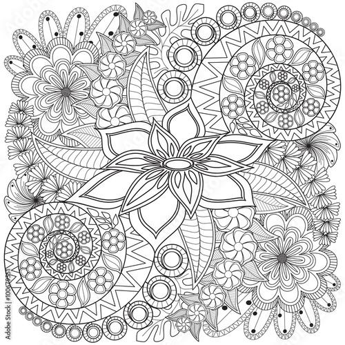 Foto Flower swirl coloring page pattern.