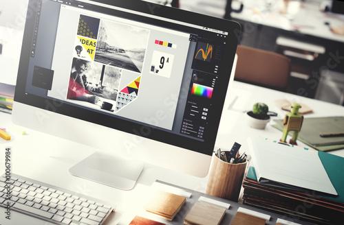 Design Studio Creativity Ideas Wood Palette Decoration Concept Canvas Print