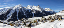 Winter Landscape. Alpine Villa...