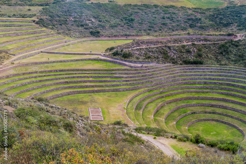 Foto op Canvas Pistache Round agricultural terraces of Incas at Moray, Sacred Valley, Peru