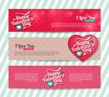 A Set Of  Happy Valentines Day Banners