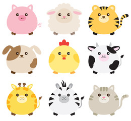 Naklejka Vector illustration of fat animals including pig, sheep, tiger, dog, chicken, cow, giraffe, zebra and cat.