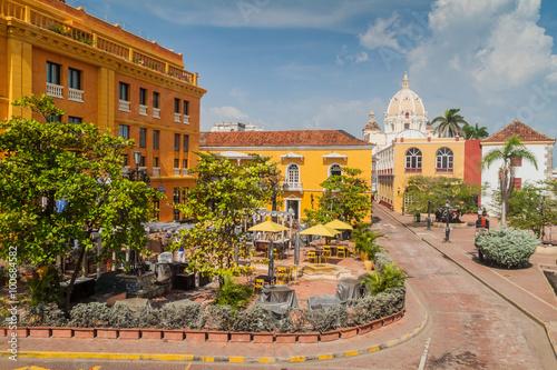 Fotografie, Obraz  Plaza Santa Teresa square in the center of Cartagena de Indias, Colombia