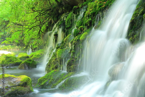 Deurstickers Watervallen 秋田県 夏の元滝伏流水