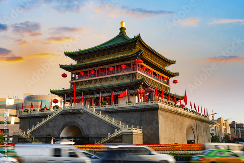Photo  ancient city xian bell tower in nightfall