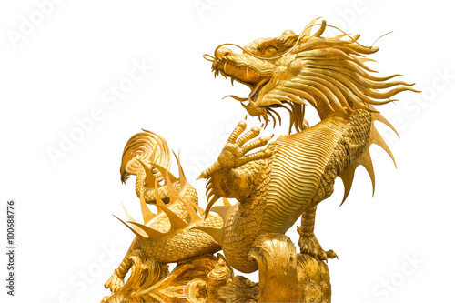 Golden Chinese dragon statue on isolate background Poster