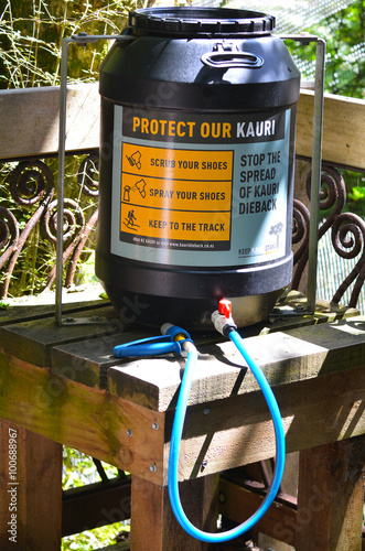 Photo  Cleaning station installed on a walking track to prevent Kauri d