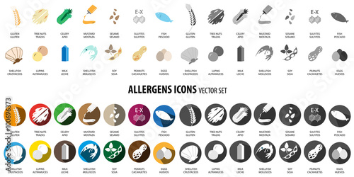 Photo Allergens icons vector set