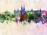 Wrocławska linia horyzontu w tle akwarela - 100698398