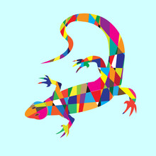 Vector Picture With Mosaic Lizard