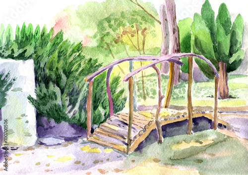 a bridge in the garden landscape