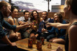 canvas print picture - Group Of Friends Enjoying Night Out At Rooftop Bar