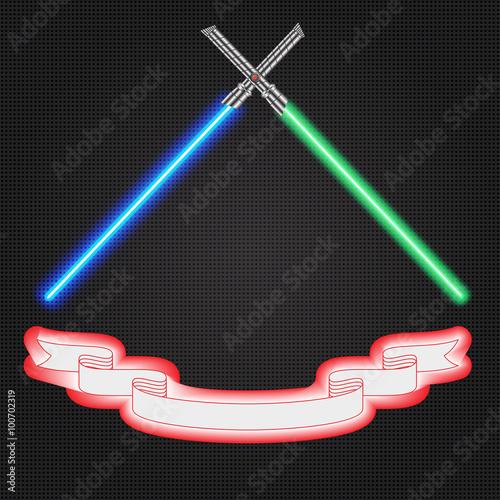 Photo Crossed light swords futuristic,ribbon emblem, vector illustration