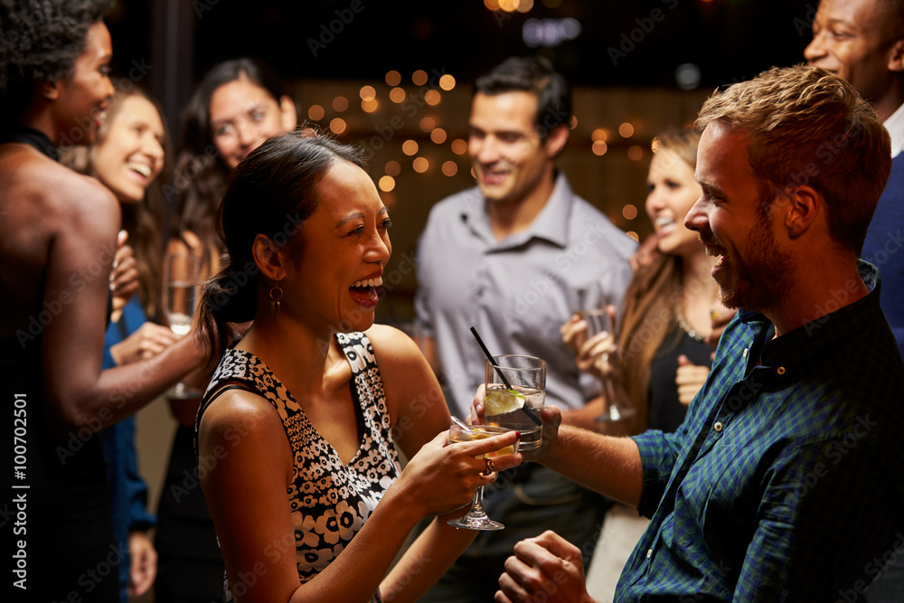 Fototapety, obrazy: Couples Dancing And Drinking At Evening Party