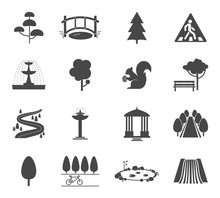 Park Icons Vector Set. Symbol Tree, Nature Wood, Plant And Environment Illustration
