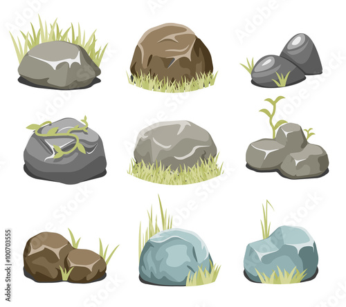 Valokuva  Rocks with grass, stones and green grass
