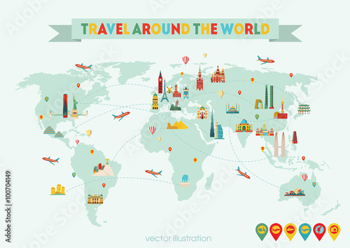 World map travel and tourism background vector illustration buy world map travel and tourism background vector illustration gumiabroncs Image collections