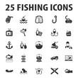 fishing, fish 25 black simple icons set for web