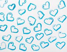 Blue Hearts Watercolor