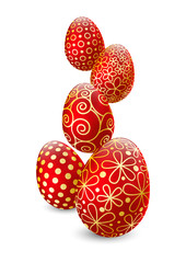 FototapetaEaster eggs on white background