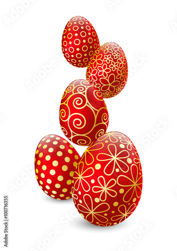 Easter eggs on white background  - 100716355