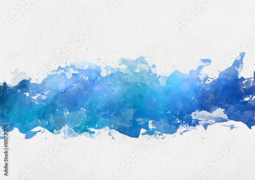 Artistic blue watercolor splash effect template - 100720171