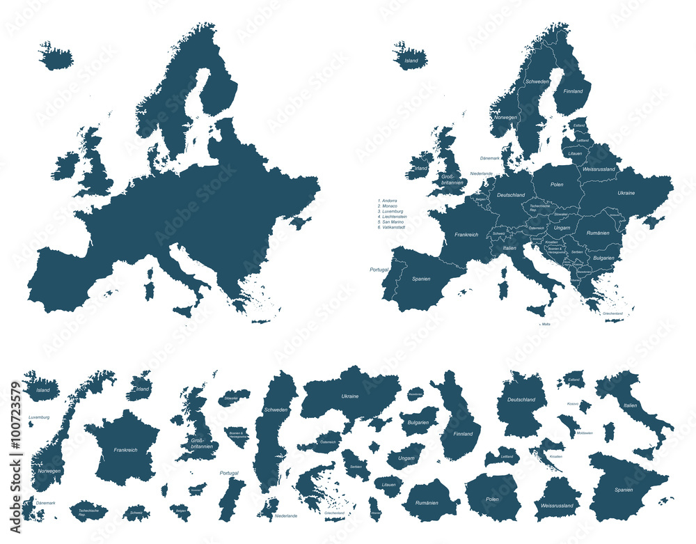 Fototapeta Europa detaillierte Karten - Vektor (beschriftet)