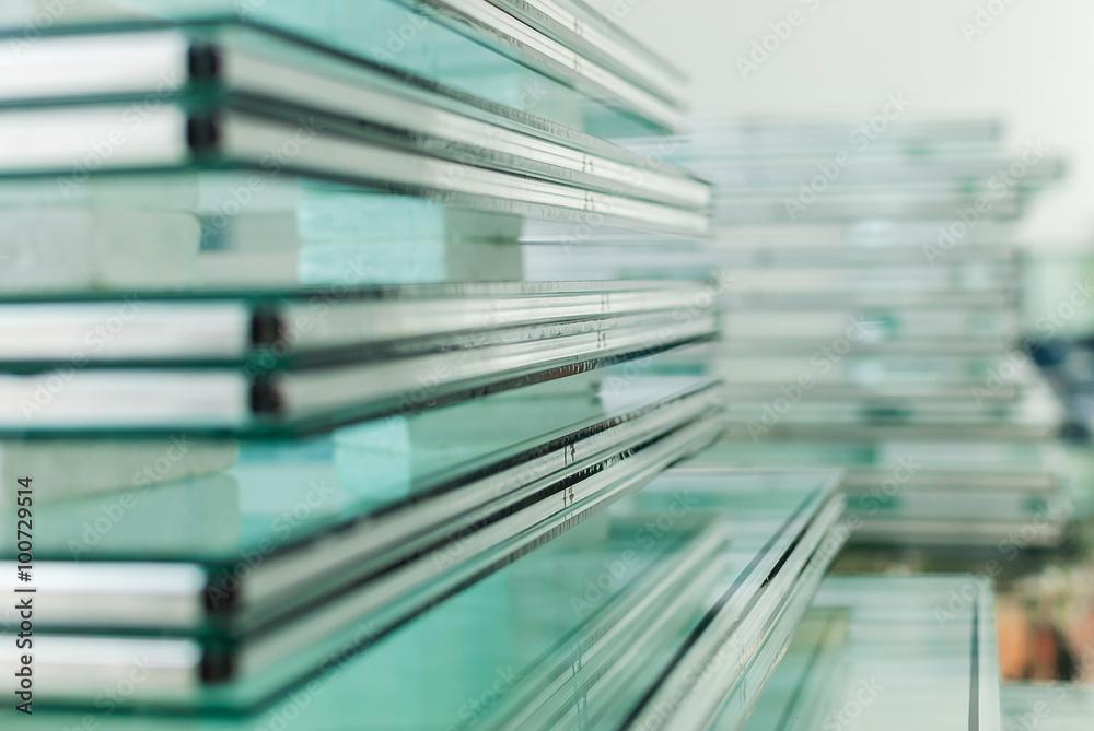 Fototapeta Sheets of Tempered Window Glass