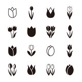 Tulip icons, vector illustration