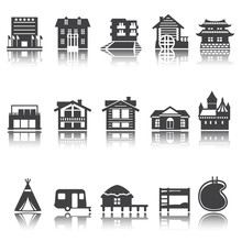 Icon Hotel, House, Camping. Accommodation Options. Vector Set. Shadow Reflection