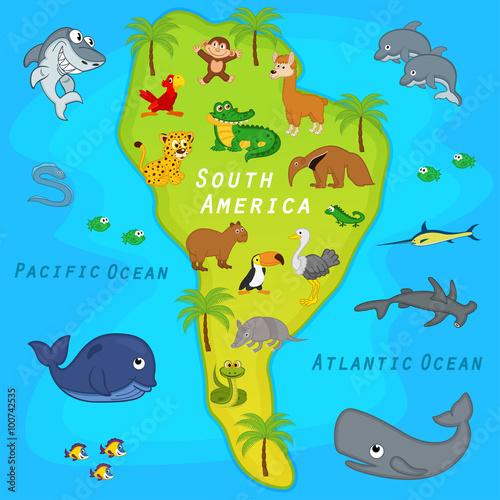 Obraz na płótnie Mapa Ameryki Południowej ze zwierzętami
