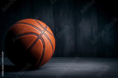 basketball ball on a black background Canvas Print