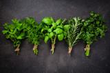 Fresh herbs on dark background