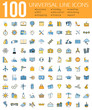 Set of 100 Minimal Universal Line Icons. Business and finance, seo and education, shopping and holiday, weather and traveling, sport.