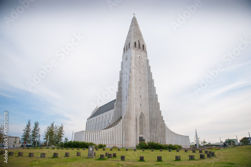 Fényképezés  Hallgrimskirkja cathedral in Reykjavik, Iceland