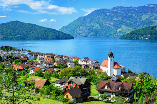 Fotografie, Obraz  Lake Lucerne and the Alps mountains by Ruetli, Switzerland