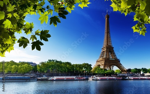 Obraz paris eiffel france river beach trees - fototapety do salonu