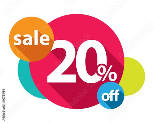 Valokuva  20% discount logo colorful circles