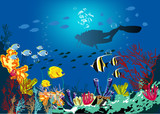 Fototapeta Do akwarium - Coral reef with various species of fish and silhouette of diver over blue sea background.