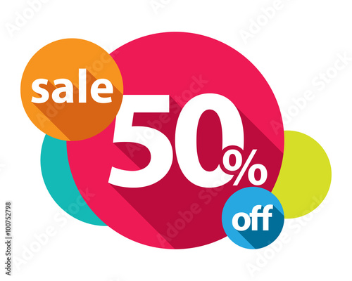 Fotografia  50% discount logo colorful circles