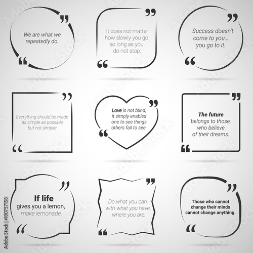 Set of nine citations in tex boxes, frames and quotes. Vector - Buy ...