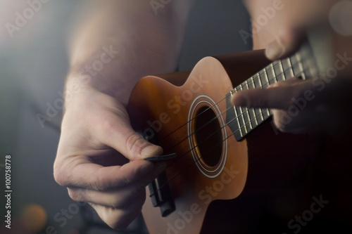 Close Up Playing Ukulele Fototapet