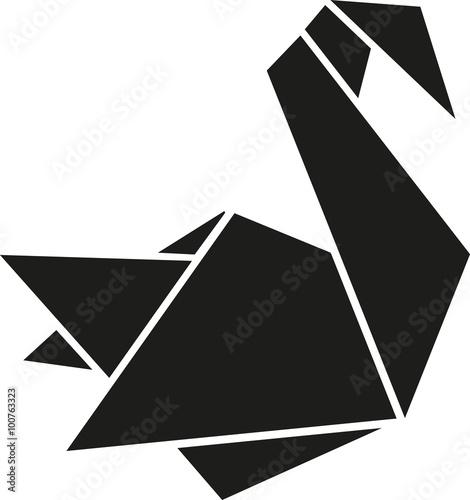 Folded paper swan origami