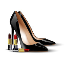 Black Lady Shoes And Lipstick On Isolated Background