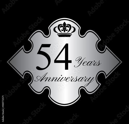 Fotografia  54 anniversary silver emblem with crown